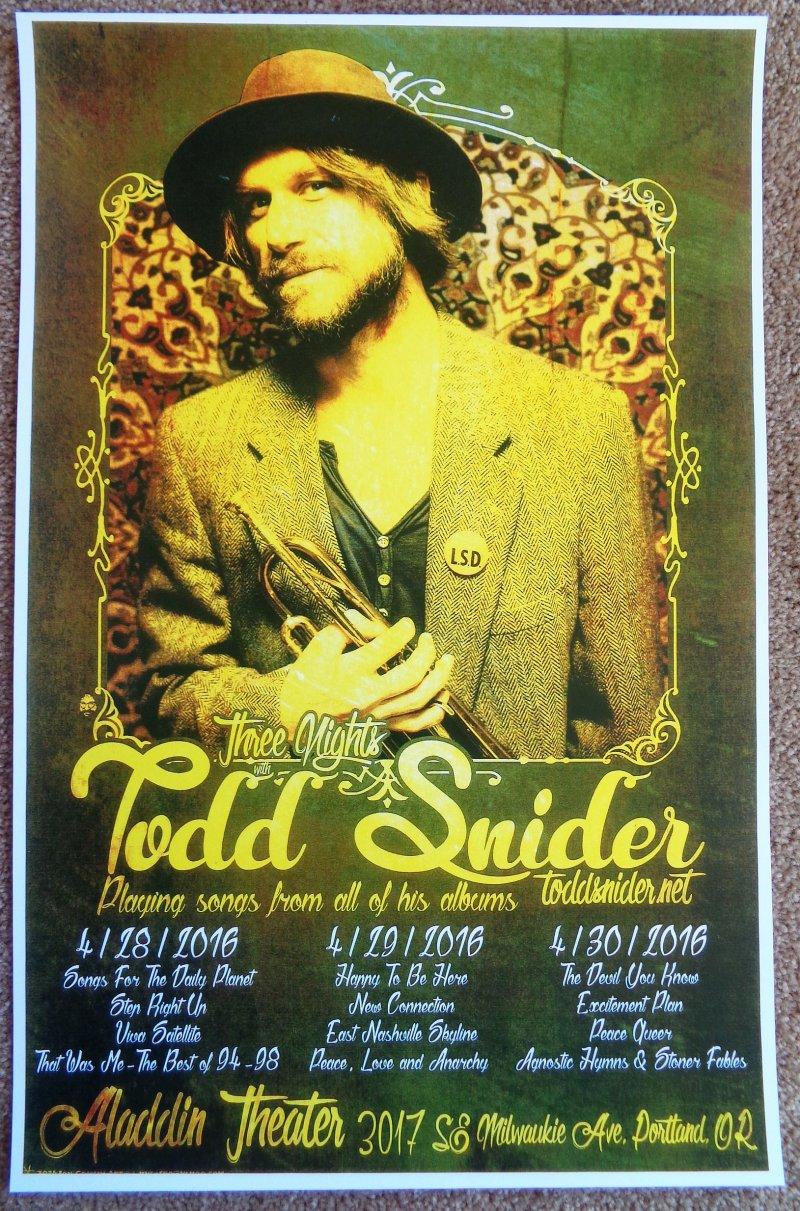 Image 0 of Snider TODD SNIDER 2016 Gig POSTER Portland Oregon Concert