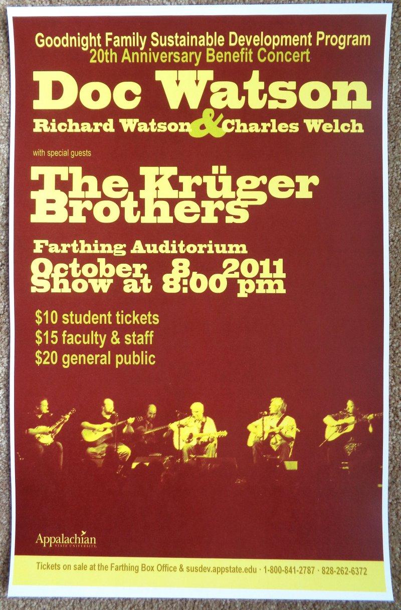 Image 0 of Watson DOC WATSON 2011 Gig POSTER Boone North Carolina Concert