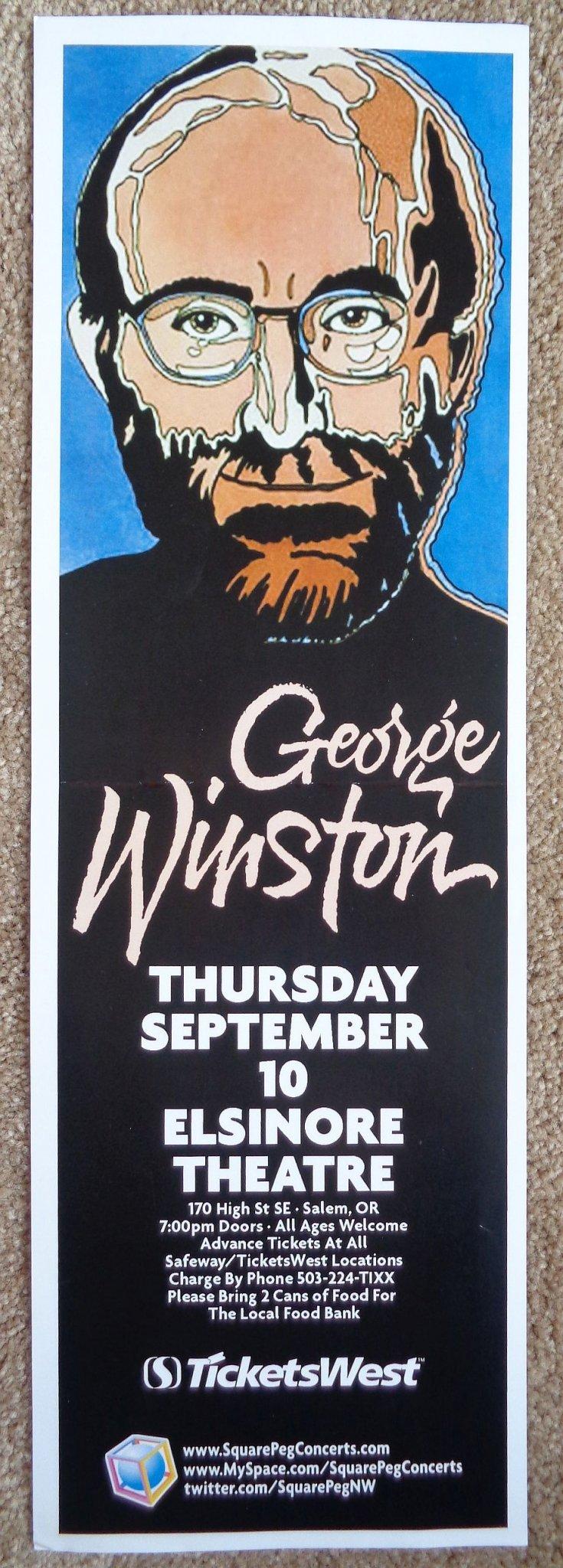 Image 0 of Winston GEORGE WINSTON 2009 Gig POSTER Salem Oregon Concert (5 1/2 x 17)