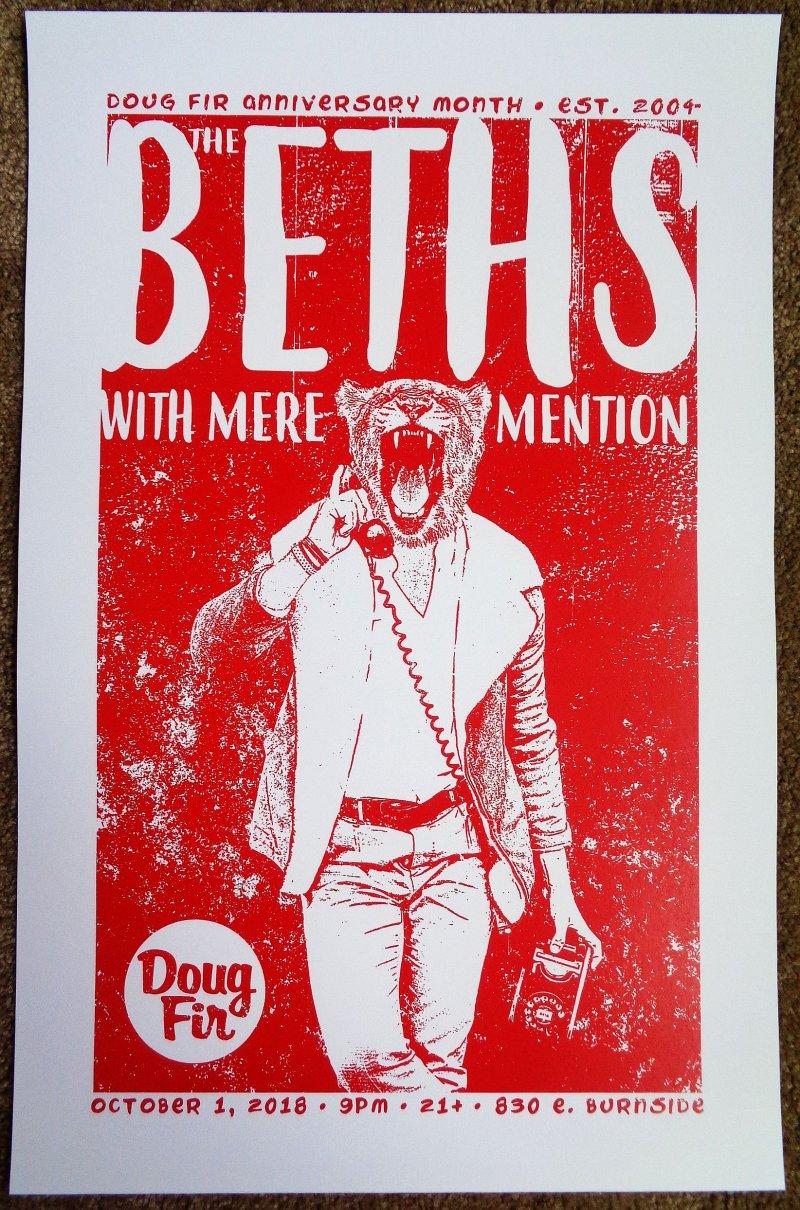Image 0 of Beths THE BETHS 2018 Gig POSTER Portland Oregon Concert