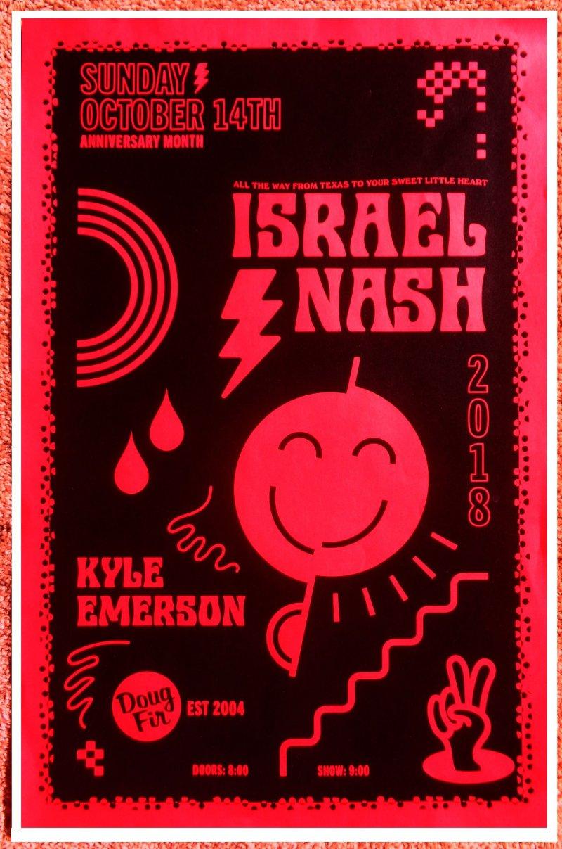 Nash ISRAEL NASH 2018 Gig POSTER Portland Oregon Concert