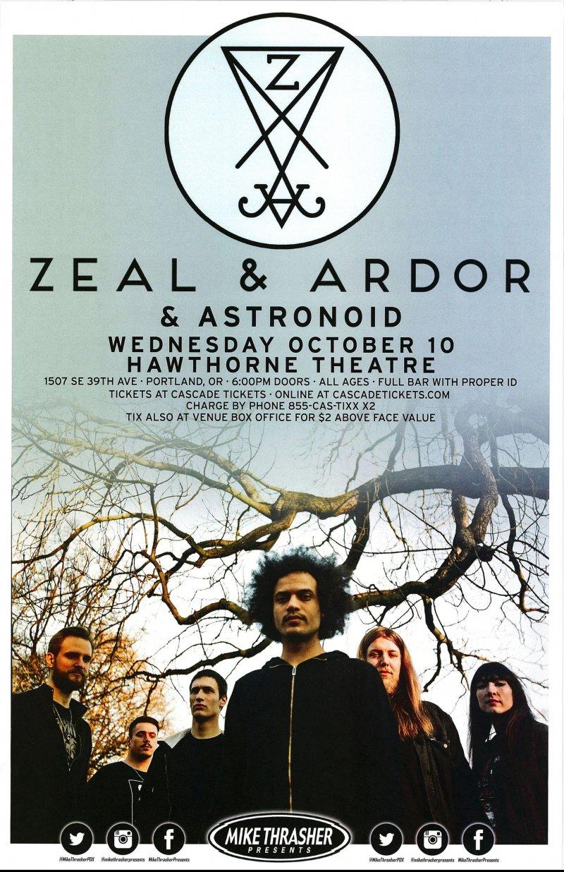 ZEAL & ARDOR 2018 Gig POSTER Portland Oregon Concert
