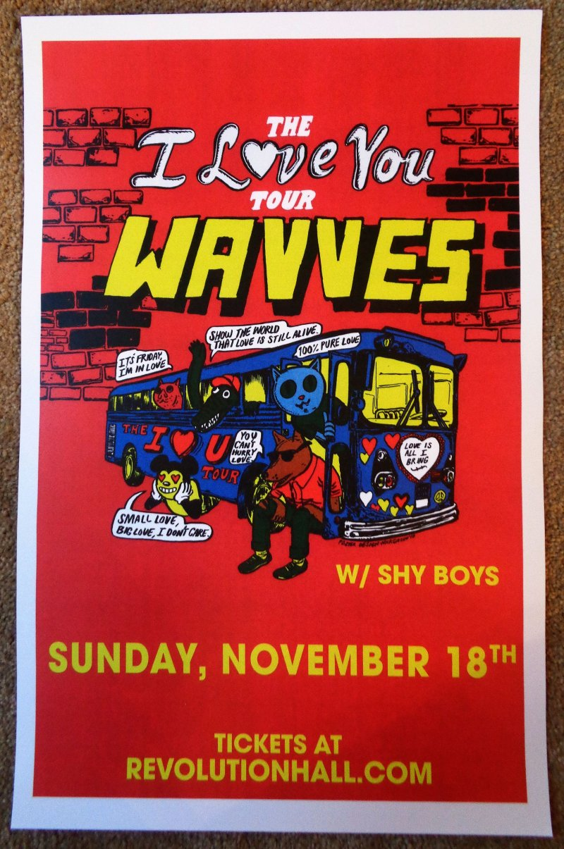 Image 0 of WAVVES 2018 Gig POSTER Portland Oregon Nathan Williams Concert