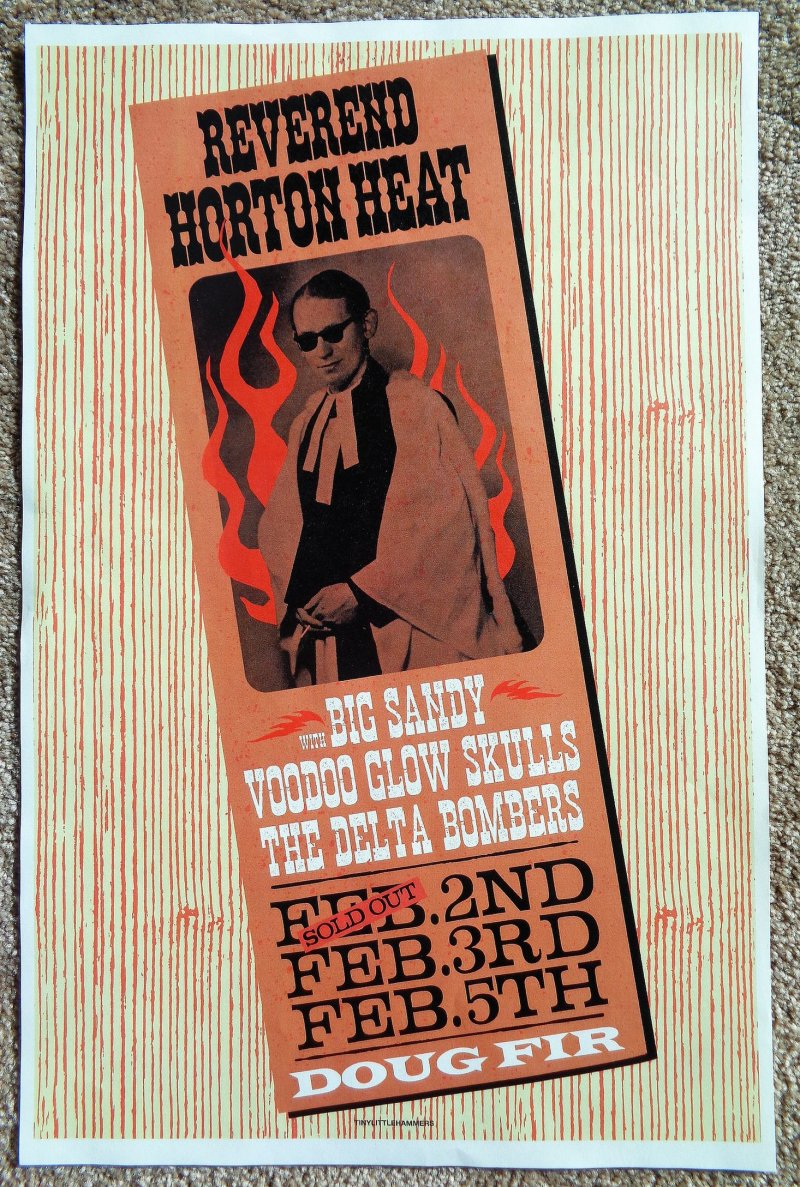 Image 0 of Heat REVEREND HORTON HEAT 2019 Gig POSTER Portland Oregon Concert