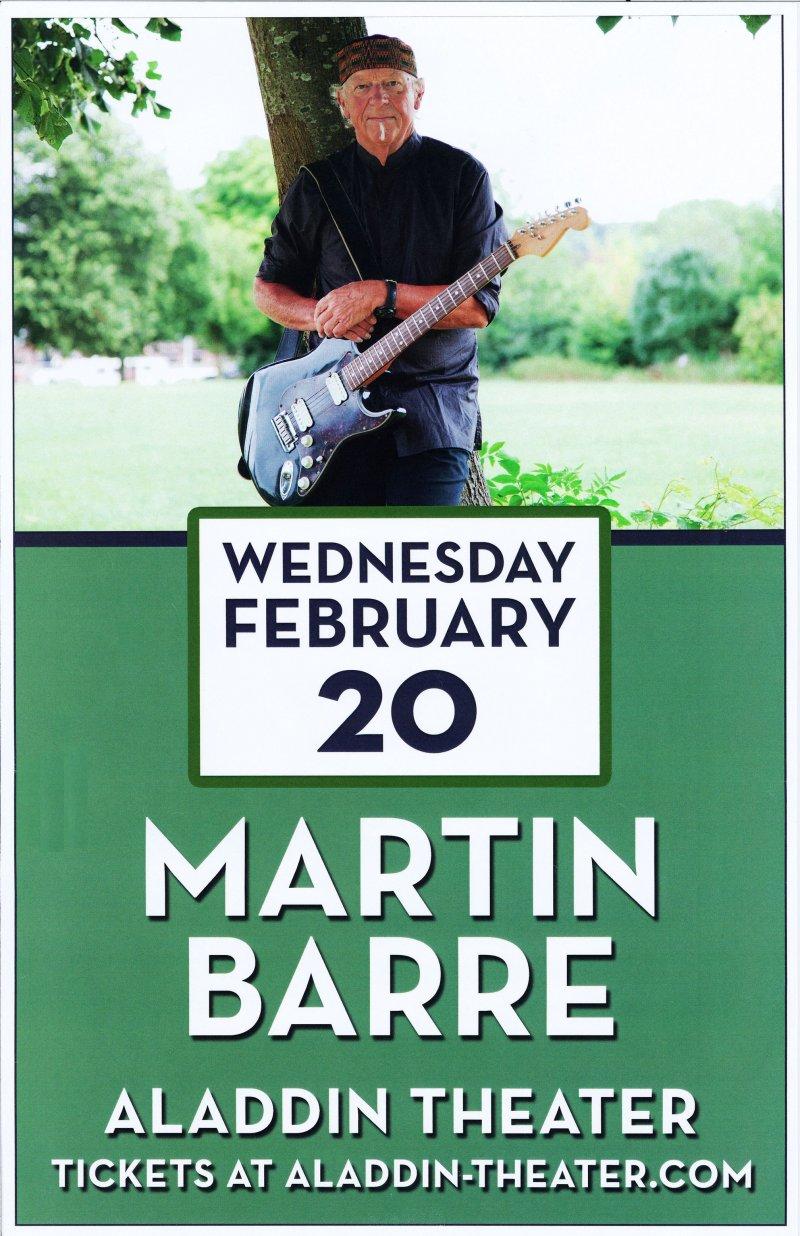 Image 0 of Barre MARTIN BARRE 2019 Gig POSTER Portland Oregon JETHRO TULL Concert