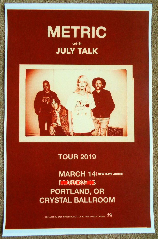 METRIC 2019 Gig POSTER Portland Oregon Concert Version 2 of 2