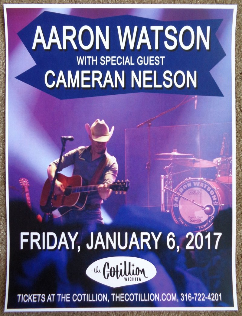 Watson AARON WATSON 2017 Gig POSTER Wichita Kansas Concert
