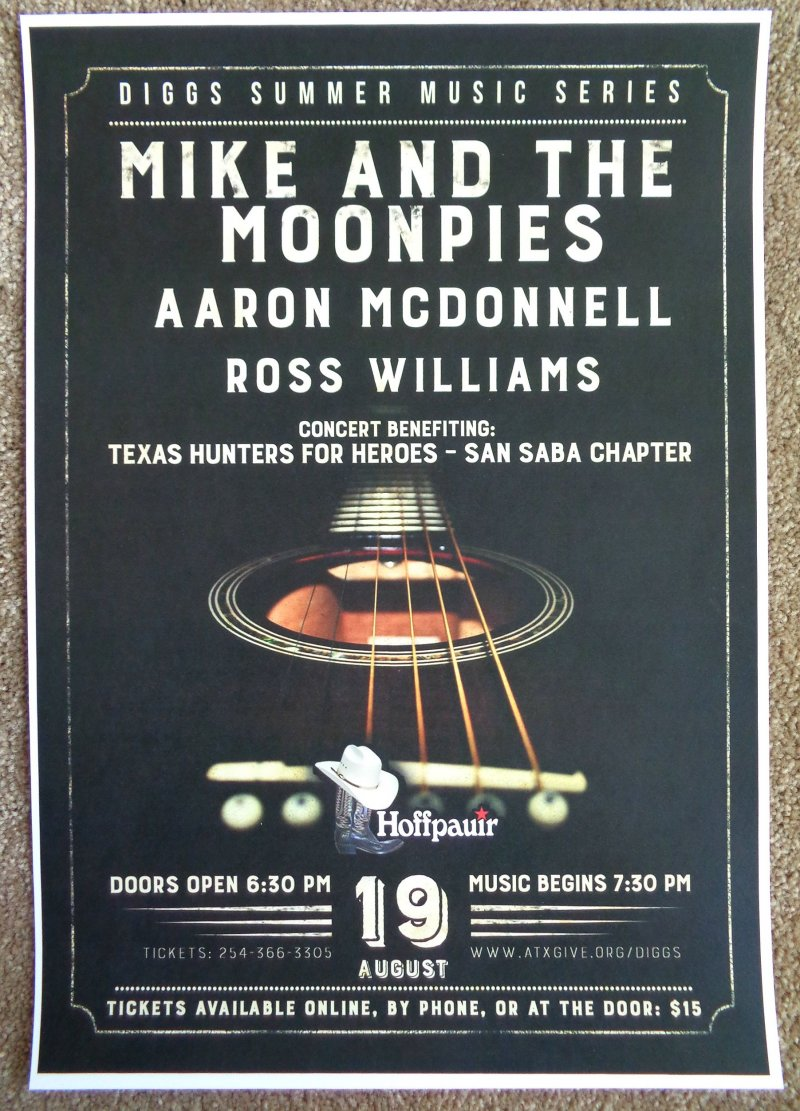MIKE AND THE MOONPIES 2017 Gig POSTER San Saba Texas Concert