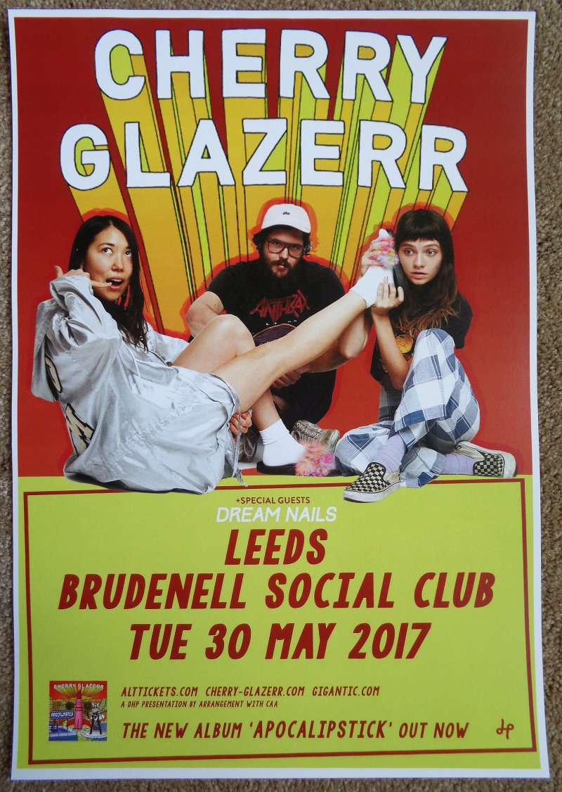 CHERRY GLAZERR 2017 Gig POSTER Leeds United Kingdom Concert