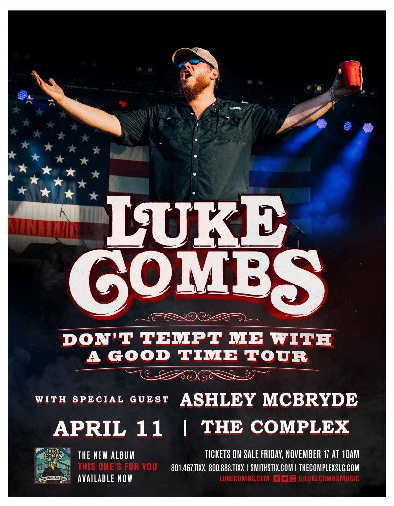 Image 0 of Combs LUKE COMBS 2018 Gig POSTER Salt Lake City Concert Utah