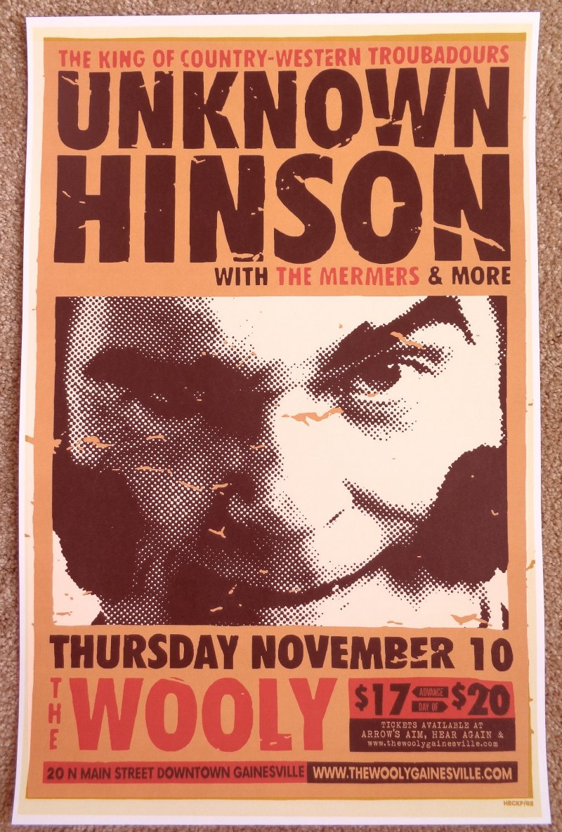 Hinson UNKNOWN HINSON 2016 Gig POSTER Gainesville Florida Concert Adult Swim