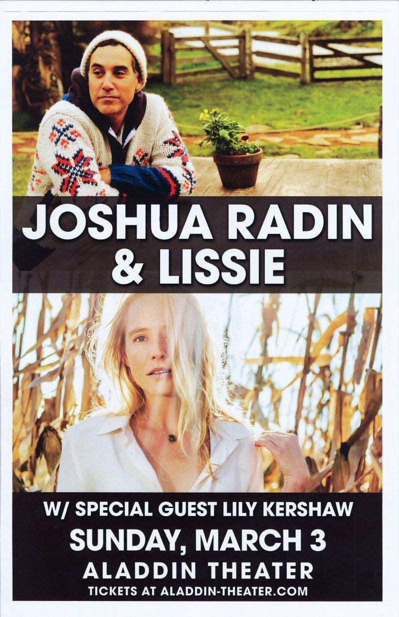 Radin JOSHUA RADIN & LISSIE 2019 Gig POSTER Portland Oregon Concert