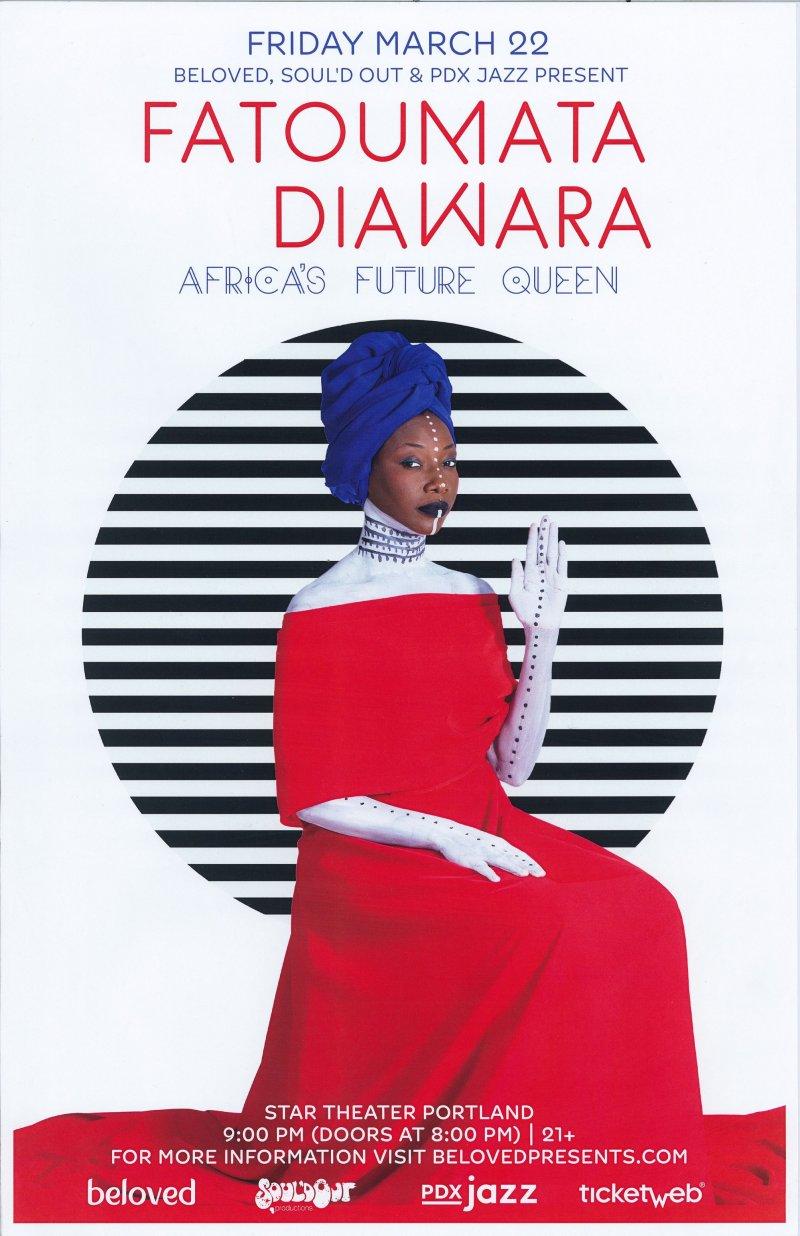 Diawara FATOUMATA DIAWARA 2019 Gig POSTER Portland Oregon Concert MALI