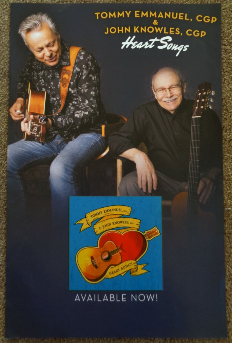 Image 0 of Emmanuel TOMMY EMMANUEL & JOHN KNOWLES Album POSTER Heart Songs 11x17