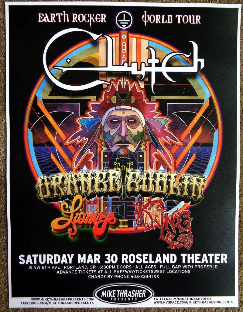 Image 0 of CLUTCH 2013 Gig POSTER Portland Oregon Concert Earth Rocker Tour