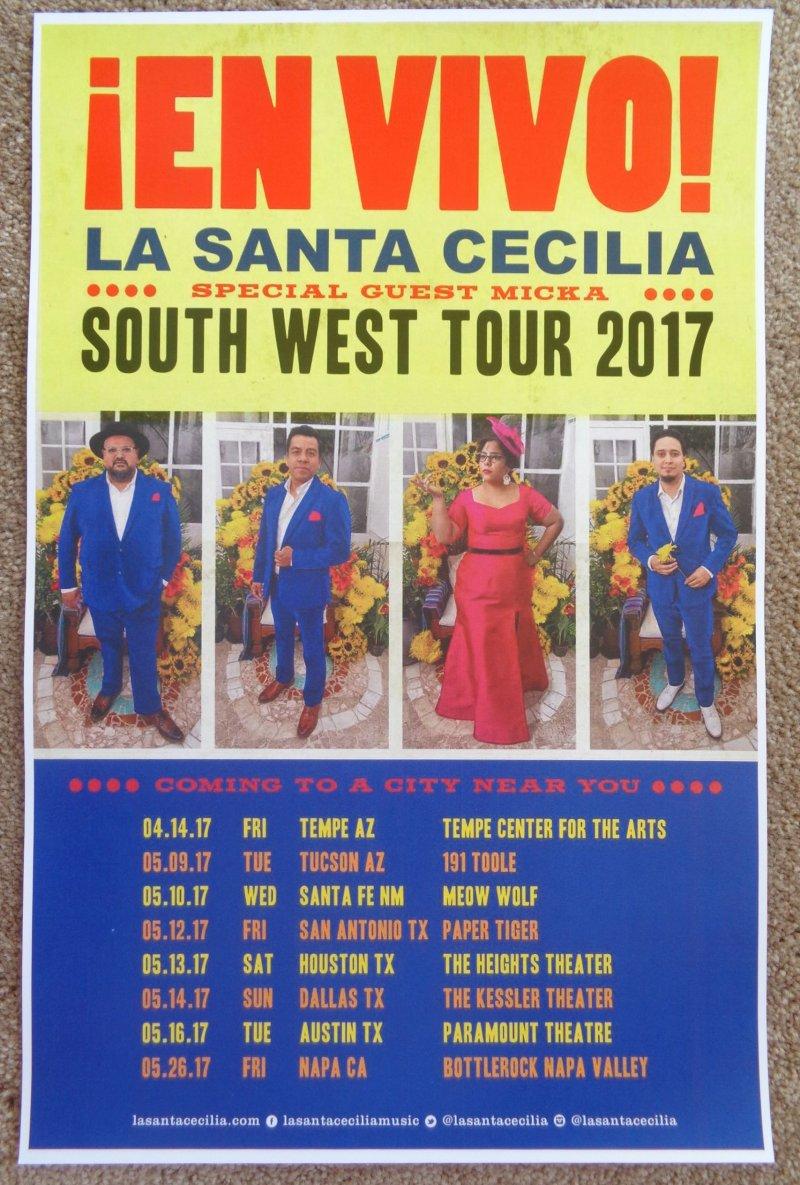 LA SANTA CECILIA 2017 Tour POSTER Southwest USA Gig Concert