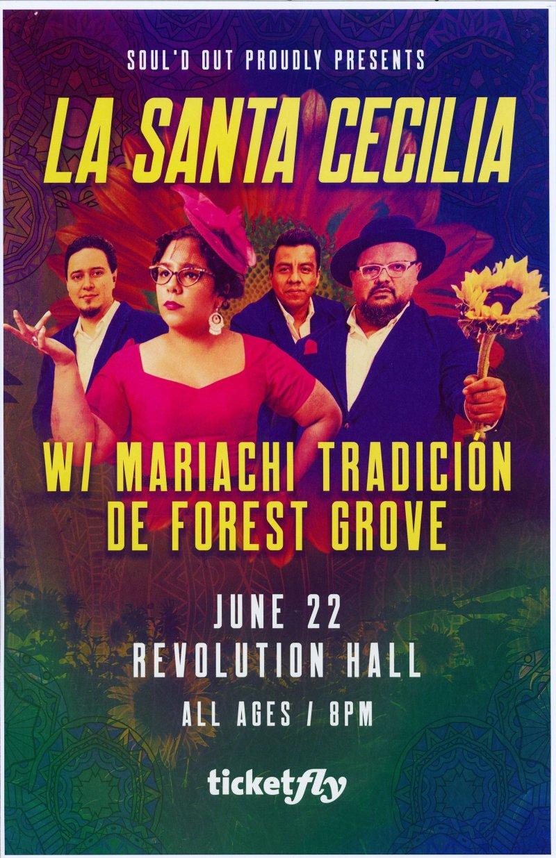 LA SANTA CECILIA 2019 Gig POSTER Portland Oregon Concert