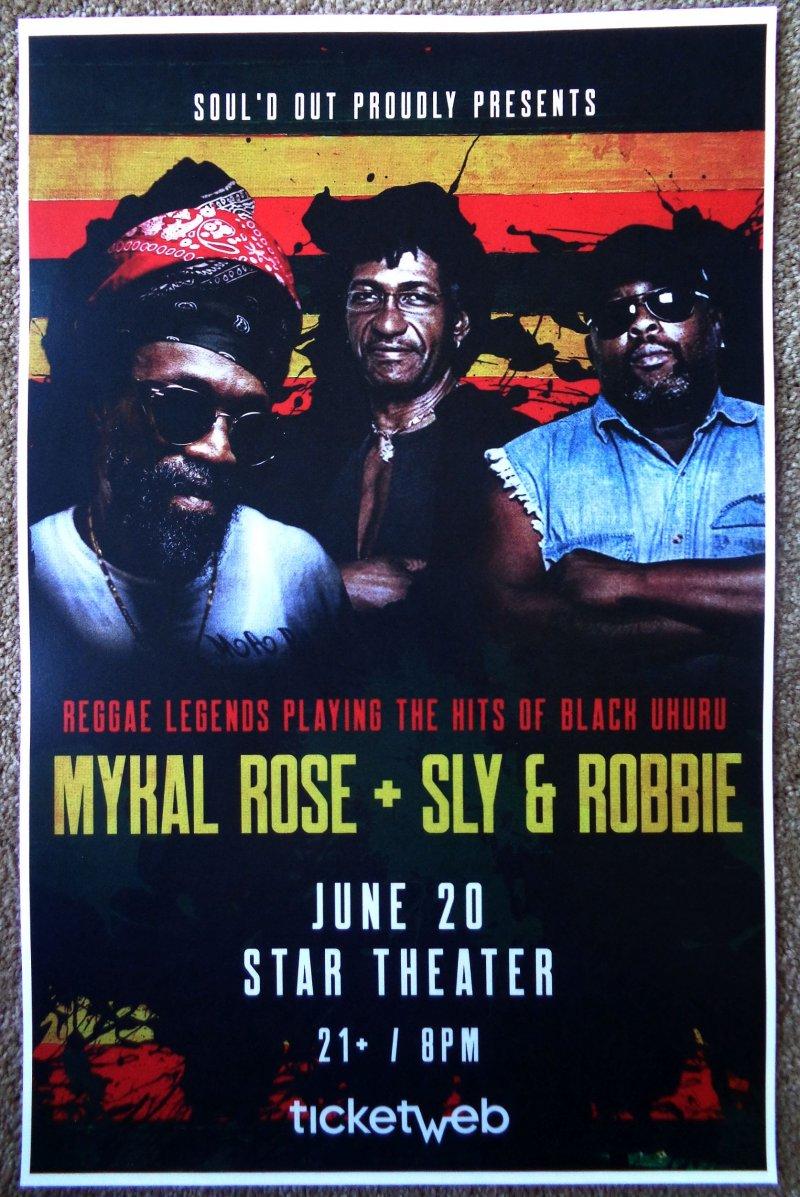 SLY & ROBBIE / MYKAL ROSE 2019 Gig POSTER Portland Oreg BLACK UHURU Concert