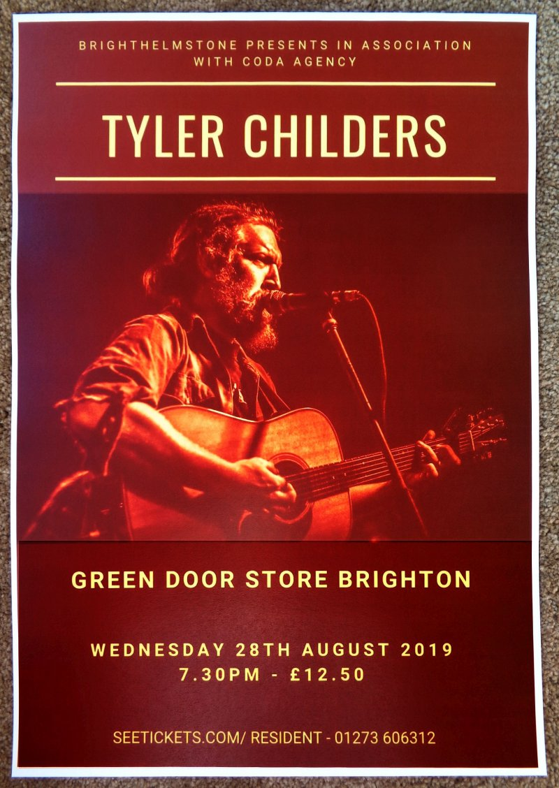 Image 0 of Childers TYLER CHILDERS 2019 Gig POSTER Brighton UK Concert United Kingdom