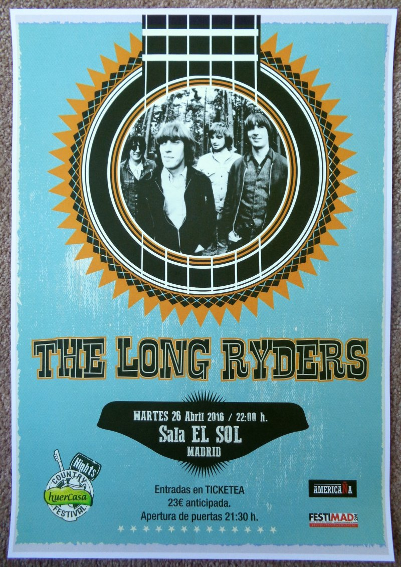 Image 0 of LONG RYDERS 2016 Gig POSTER Madrid Spain Concert The Long Ryders