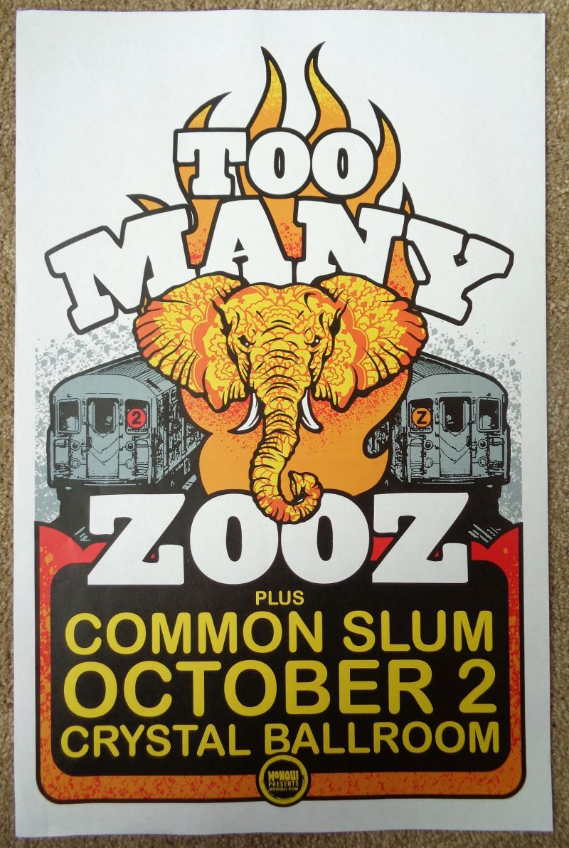 Image 0 of TOO MANY ZOOZ 2019 Gig POSTER Portland Oregon Concert Version 2 of 2