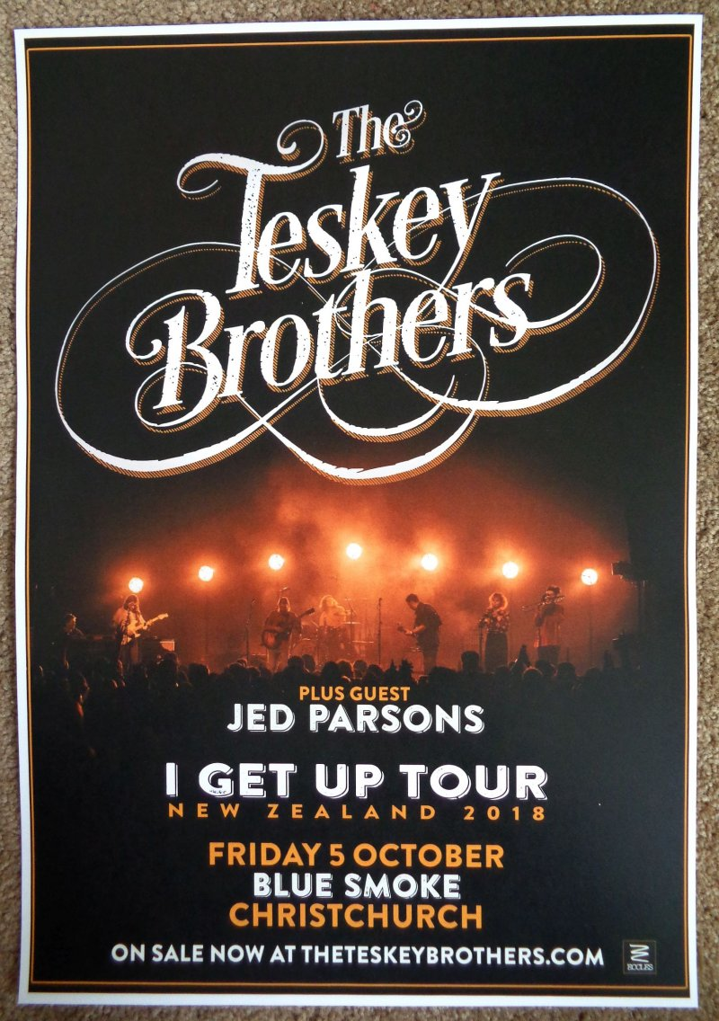 Image 0 of TESKEY BROTHERS 2018 Gig POSTER Christchurch New Zealand Concert