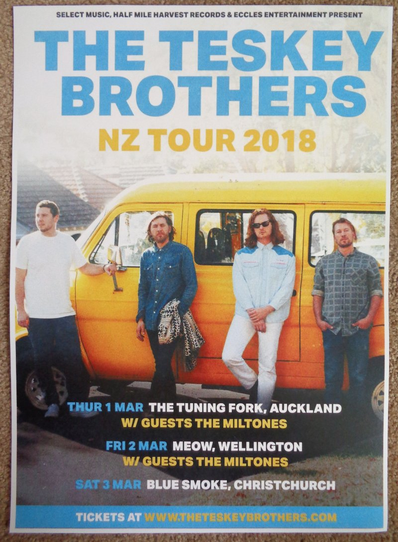 TESKEY BROTHERS Tour POSTER New Zealand March 2018 Gig Concert