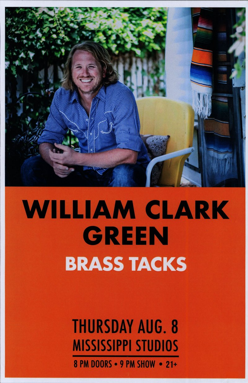 Green WILLIAM CLARK GREEN 2019 Gig POSTER Portland Oregon Concert