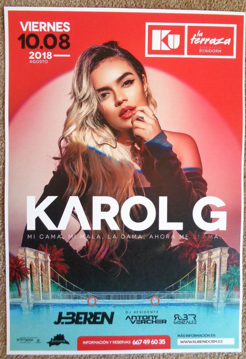 KAROL G 2018 Gig POSTER Benidorm Spain Concert