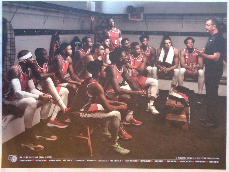 Image 0 of Portland Trailblazers 2019-20 TEAM POSTER Game Handout Blazers Carmelo Lillard