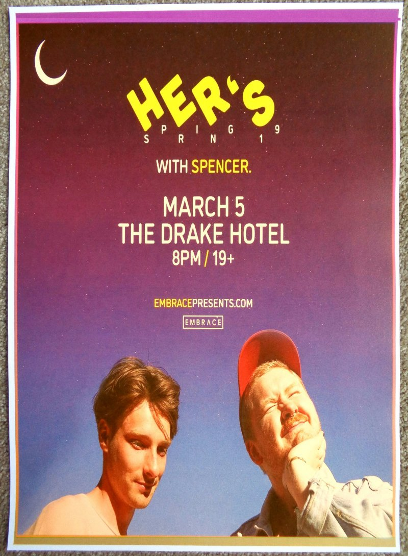 HER'S 2019 Gig POSTER Toronto Ontario Concert Canada Invitation To Hers