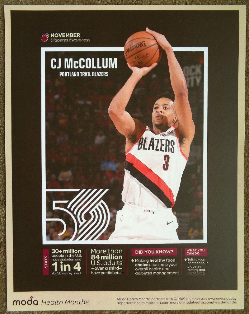 McCollum CJ McCOLLUM 2019 Nov POSTER 1 of 5 Blazers Handout Portland Trailblazer
