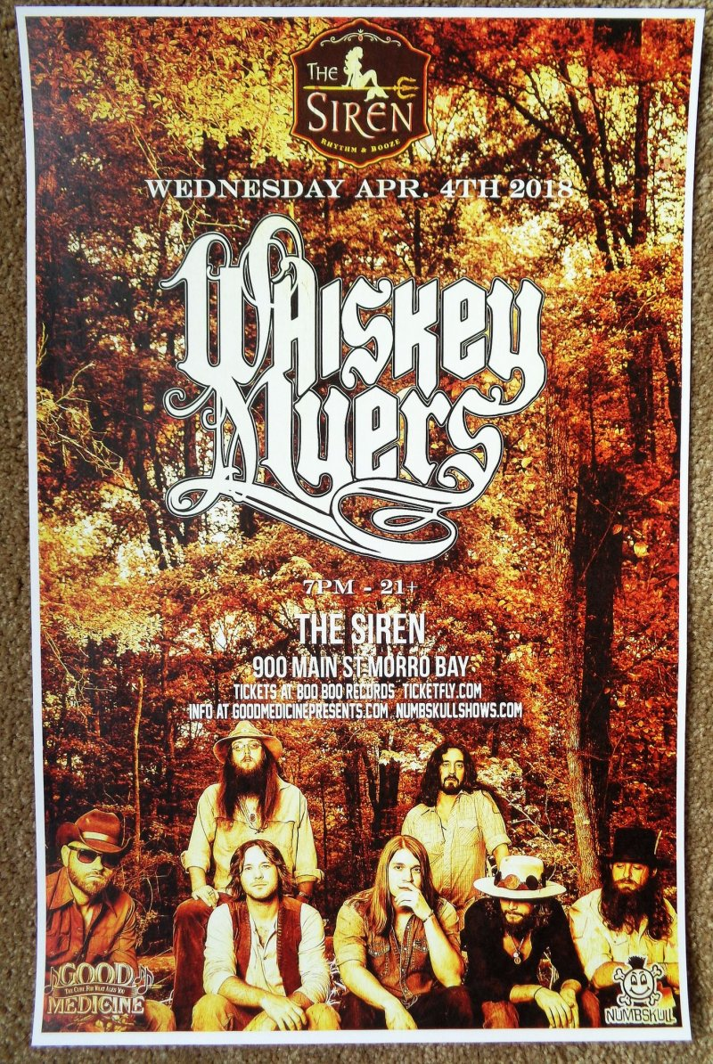 WHISKEY MYERS 2018 Gig POSTER Morro Bay California Concert