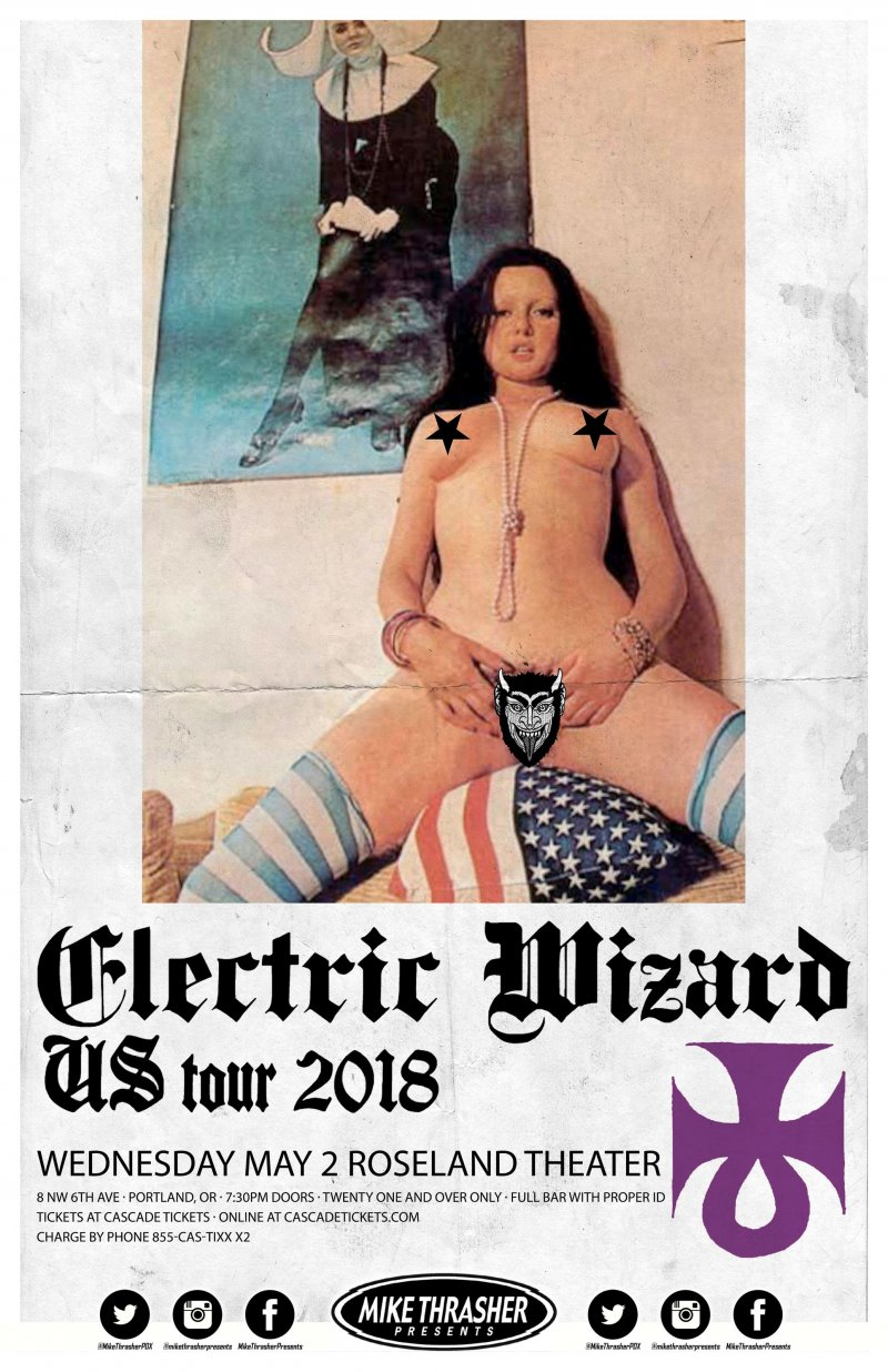 ELECTRIC WIZARD 2018 Gig POSTER Portland Oregon Concert