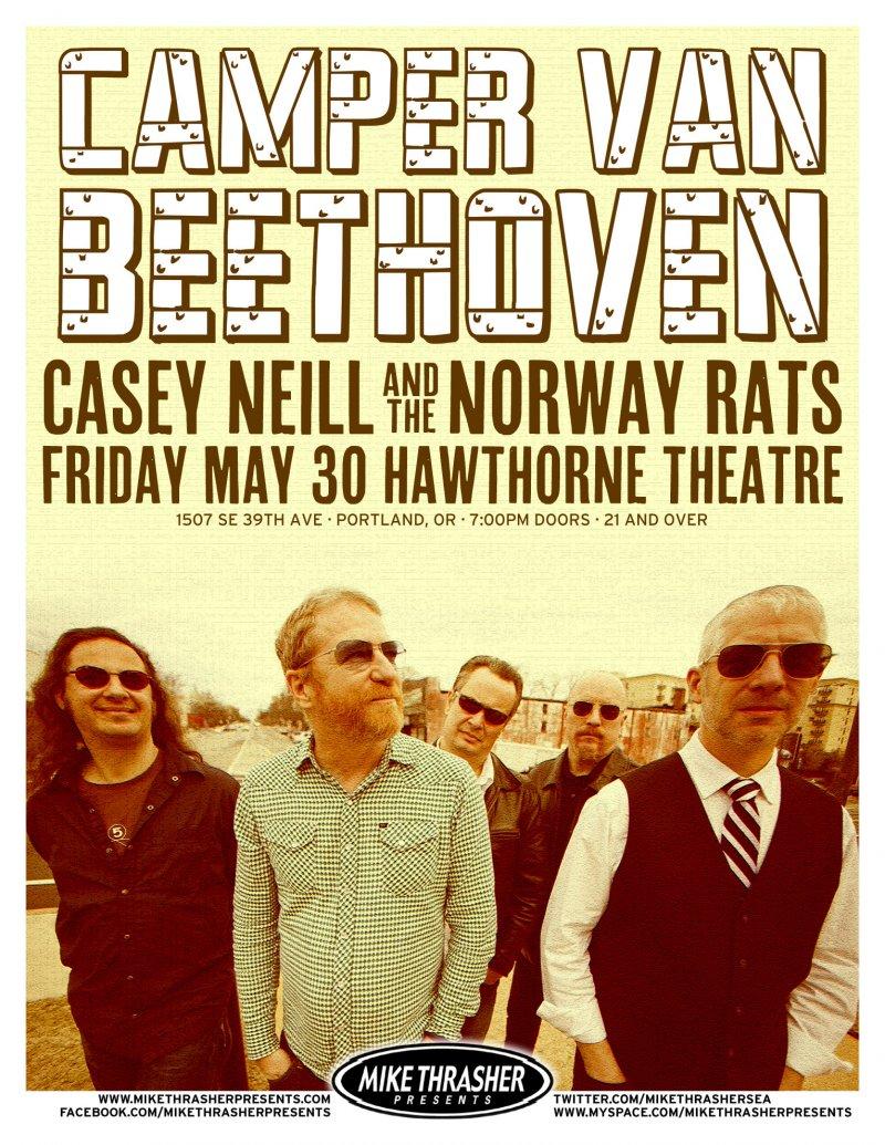 Image 0 of CAMPER VAN BEETHOVEN 2014 Gig POSTER Portland Oregon Concert