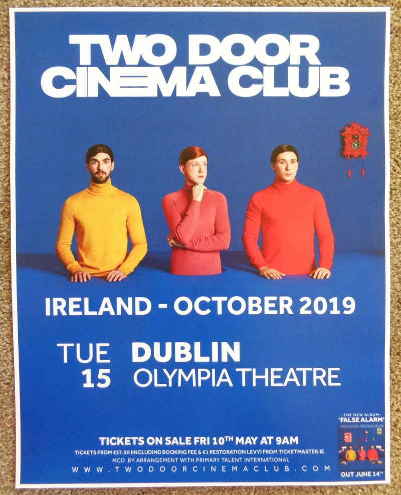 TWO DOOR CINEMA CLUB 2019 Gig POSTER Dublin Ireland Concert