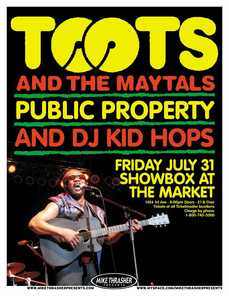 TOOTS AND THE MAYTALS 2009 Gig POSTER Reggae Seattle Concert Washington