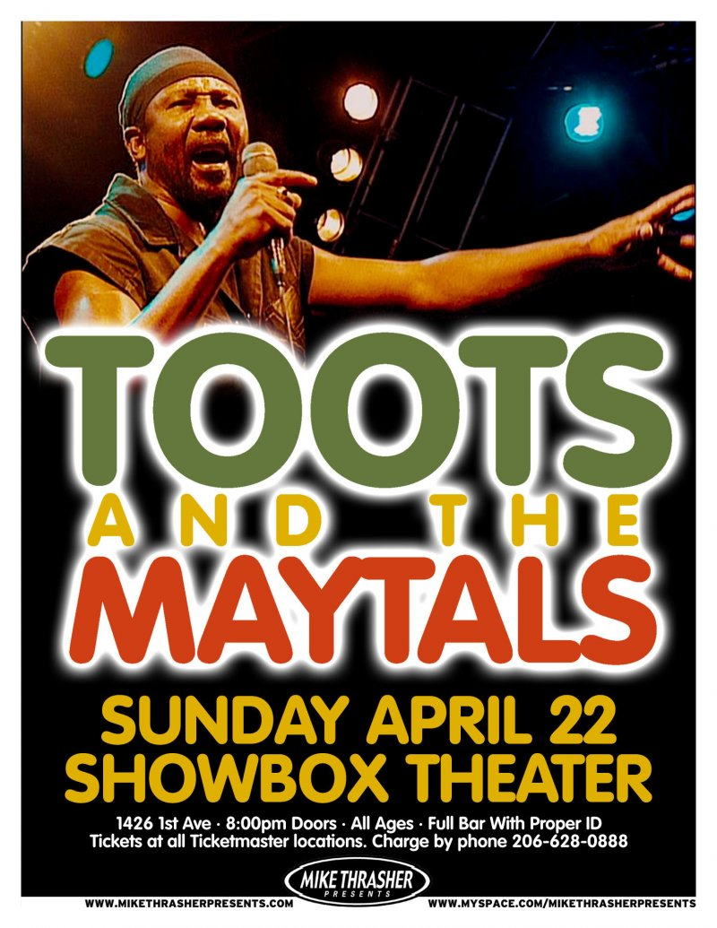 TOOTS AND THE MAYTALS 2007 Gig POSTER Reggae Seattle Concert Washington