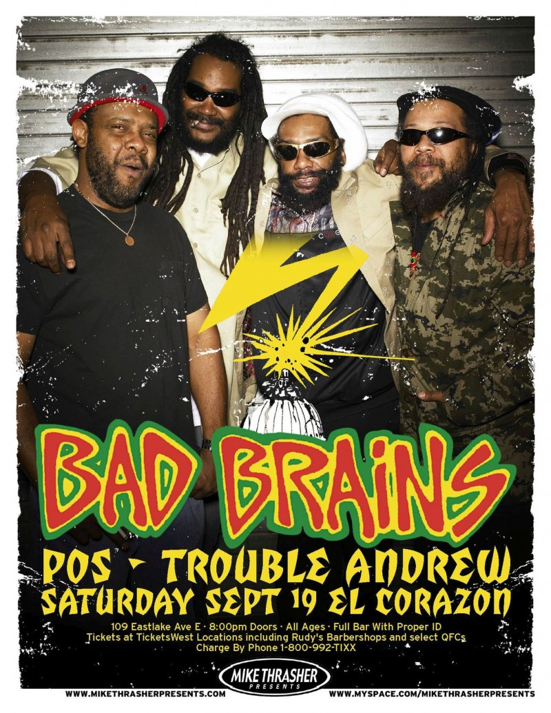 BAD BRAINS 2009 Gig POSTER Seattle Concert Washington