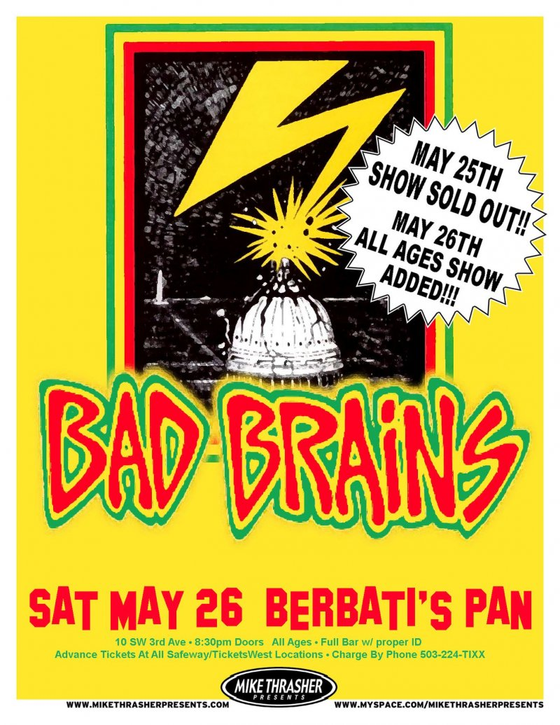 BAD BRAINS 2007 Gig POSTER Portland Oregon Concert