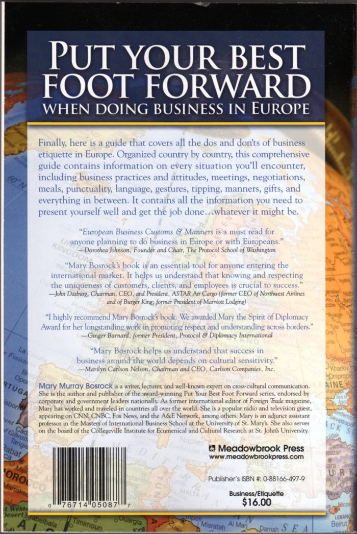 European Business Customs & Manners: A Country-By-Country Guide Back Cover