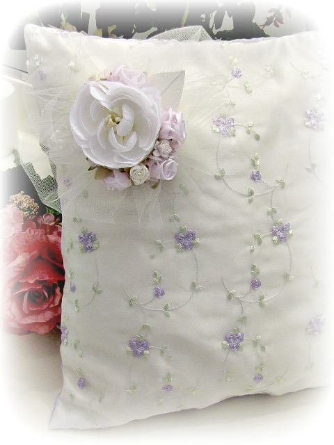 Image 1 of Everyday Romance Lavender Roses Silk Organza Pillow