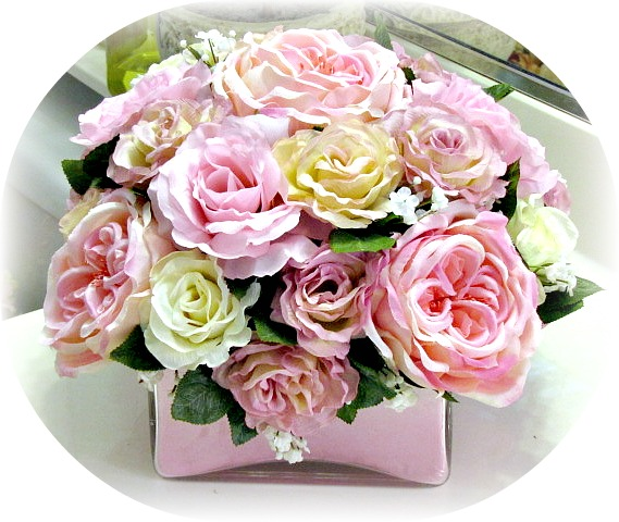 Image 0 of Square Glass Pink Floral Arrangement