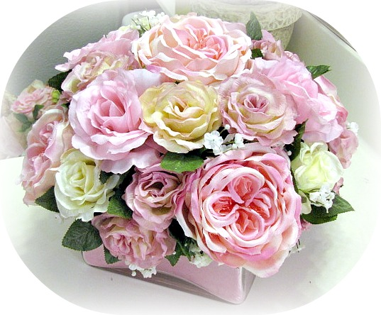 Image 1 of Square Glass Pink Floral Arrangement