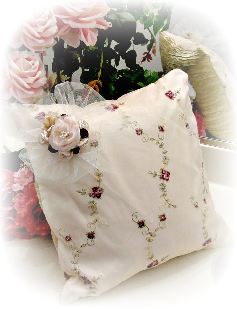 Image 0 of Everyday Romance Burgundy Roses Silk Organza Pillow
