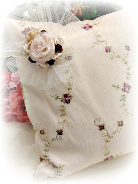 Image 1 of Everyday Romance Burgundy Roses Silk Organza Pillow