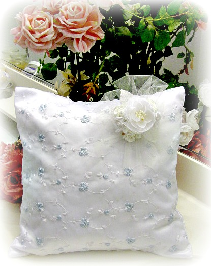 Image 0 of Everyday Romance Baby Blue Silk Organza Pillow