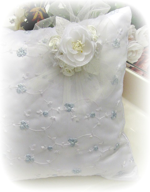 Image 1 of Everyday Romance Baby Blue Silk Organza Pillow