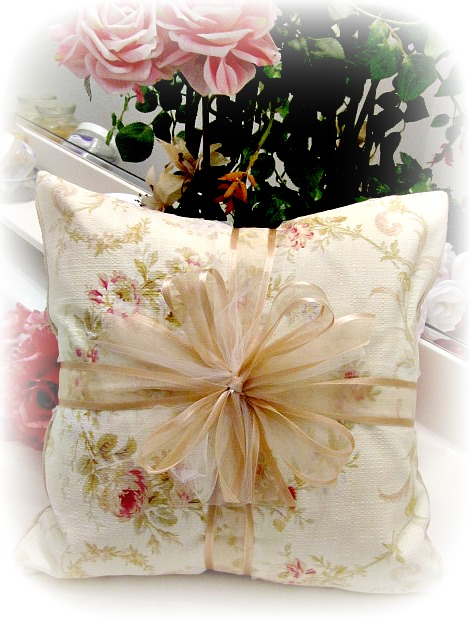 Image 0 of Everyday Romance Victorian Wreath Barkcloth Pillow
