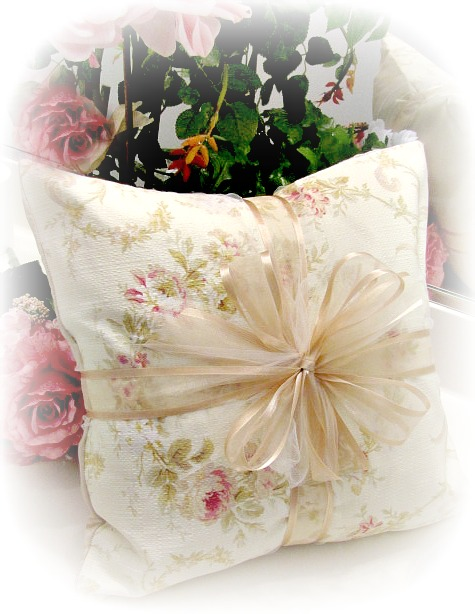 Image 1 of Everyday Romance Victorian Wreath Barkcloth Pillow